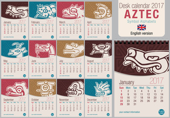 Desk triangle calendar 2017 template with Aztec symbols design. Size: 150mm x 210mm. Format vertical. Vector image. English version