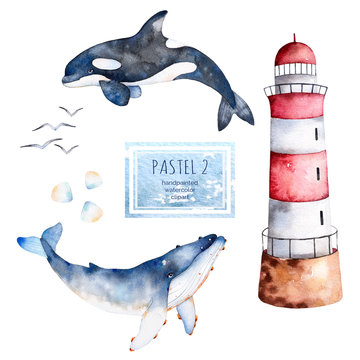 Watercolor handpainted whales,seashells and lighthouse in pastel colors.Perfect for your project,texture,blog,wallpaper,pattern,kids texture,gift paper, wrapping etc