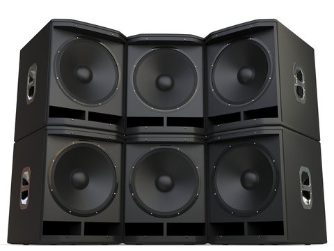 Subwoofer speakers wall stacked