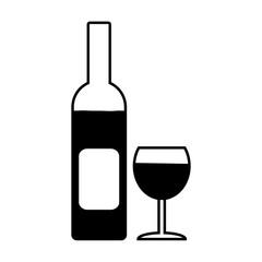 Bottle and glasse symbol icon.