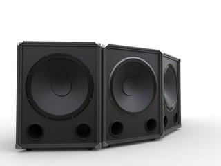 Three black subwoofer speakers