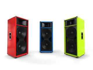 Red, green and blue hifi speakers - studio shot