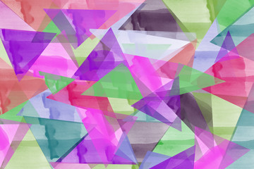 Abstract hand drawn colorful triangle of red, green, purple, pink, brown, orange, yellow, blue watercolor background on white background, illustration, copy space for text
