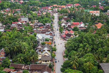 the beautiful landscape of luang prabang from mount phou si,laos.The whole city is also notable as a UNESCO World Heritage Site.