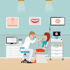 Medical otolaryngologist ear nose throat doctor for sore throat.