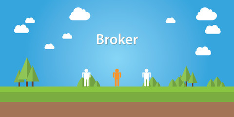 broker illustration with sign broker connection between two people