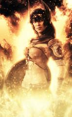 Female Goddess of war posing in fire . 3d rendering