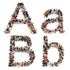Collection of a large group of people forming the letter A and B in both upper and lower case isolated on a white background. Large 7k resolution map , additional letters available,3d rendering.