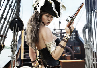 Profile of a Sexy Pirate female captain standing on the deck of her ship with pistol in hand. 3d rendering