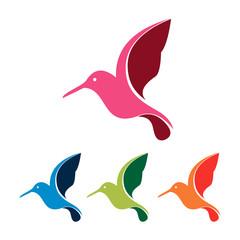 Colorful Flying Hummingbird Colibri Logo Symbol