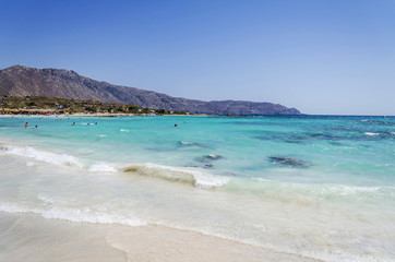 Elafonisi beach in Crete island, Greece, wonderful mediterranean beach with turquoise waters and pink sand