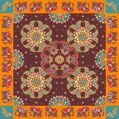 India. Ethnic bandana print with ornament border. Silk neck scarf with beautiful flowers, paisley and elephants. Summer kerchief square pattern.