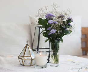 Home interior, design, candles, table