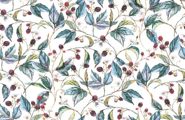 Hand-drawn watercolor seamless pattern with natural motives: blackberry branches, leaves and berries. Repeated background, print for the textile and wallpapers
