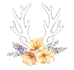 Beautiful illustration with the watercolor tulip flowers, hyacinth and sketch antlers. Floral composition in boho style with stylized antlers drawing and yellow tulips bouquet