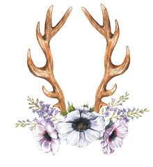 Beautiful illustration with the watercolor anemone flowers, hyacinth and antlers. Floral composition in boho style with antlers drawing