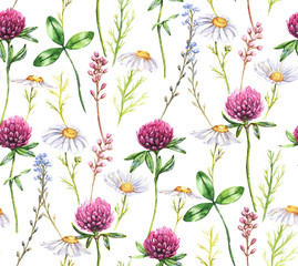 Hand-drawn watercolor seamless floral pattern with the different meadow flowers. Clover, daisies pattern. Vibrant summer floral pattern, print for the textile and wallpapers. Field blossom