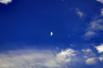 Moon in Clear Blue Skies