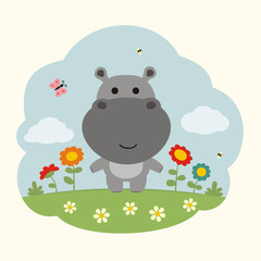 Funny hippo. Cartoon hippo on flowers field. Cute hippo and flowers.