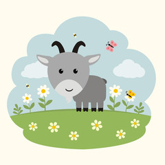 Funny goat. Cartoon goat on flowers field. Cute goat and flowers.