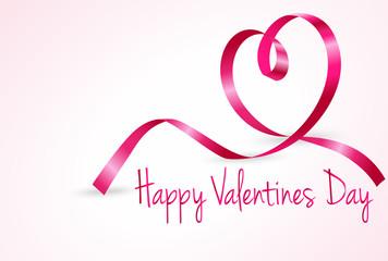 день святого валентина, розовая ленточка сердце