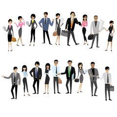Set Asian businessmen and business women isolated on white backg