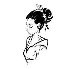 Vector Geisha Woman Illustration