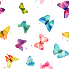 Seamless pattern with abstract freehand watercolour butterflies