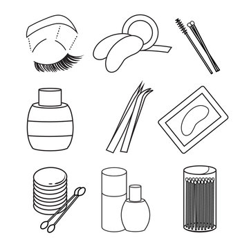 hygiene icons. lash extentions signs.