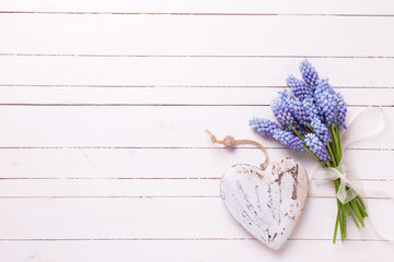 Background with blue muscaries flowers and decorative heart on w