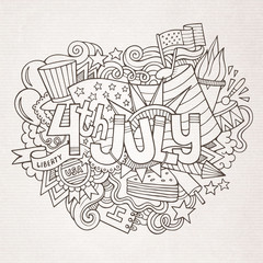 4th July Independence Day hand lettering and doodles elements