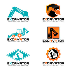 Excavator and backhoa logo vector illustration set design