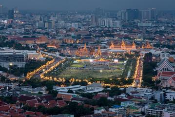 Wat Phra Kaew at night and street, bangkok, Thailand.