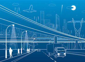 Car overpass, infrastructure, urban plot, people walking, airplane takes off, train move ob the bridge, neon city on background, truck on highway, white lines illustration, vector design art