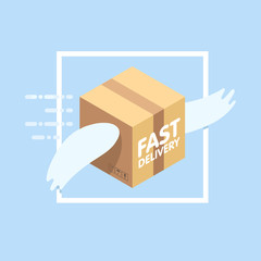 Fast delivery service flat vector illustration. Parcel with wings flies in sky among clouds