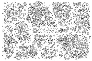 Sketchy vector hand drawn Doodle cartoon set of objects