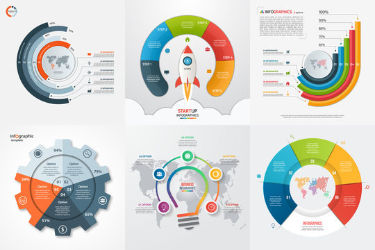 Set of six infographic 5 options, steps, parts, processes templates. Business concept for graphs, charts, diagrams. Vector illustration.