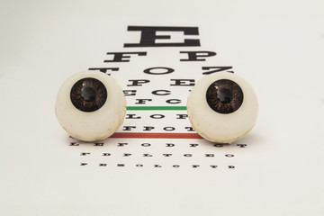 Two human eyeballs lie on the table for testing visual acuity front view. Illustration  for ophthalmology or work ophthalmologist or optometrist