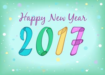 Happy New Year 2017. Watercolor symbols