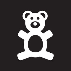 flat icon in black and white style toy bear