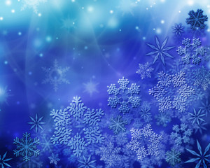Winter background. White snowflakes and frost
