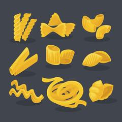 Vector set foods of wheat. Italian cuisine.