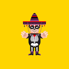 Dead Mexican character for halloween in a flat style