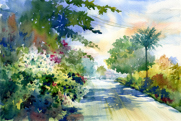 In de dag Olijf watercolor painting of autumn landscape with a beautiful road with colored trees