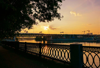 Embankment at sunset