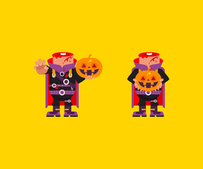 Headless horseman character for halloween in a flat style