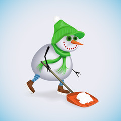 Happy snowman clean the snow using a shovel. Winter fun. Vector illustration.
