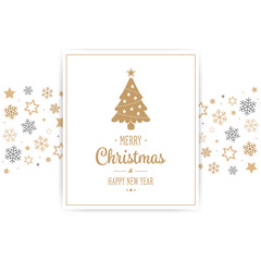 Merry Christmas card snowflakes stars border background