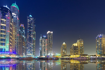 Skyline of Dubai Marina at night, United Arab Emirates