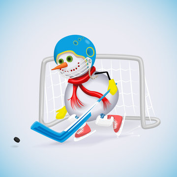 Snowman protects hockey gates of attack. Winter fun. Vector illustration.